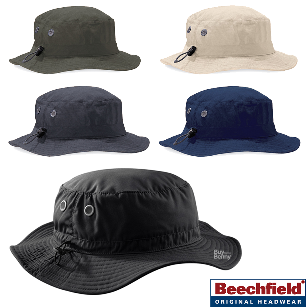Beechfield BLACK GREY NAVY GREEN Cargo Bucket Hat with Sweatband Lining