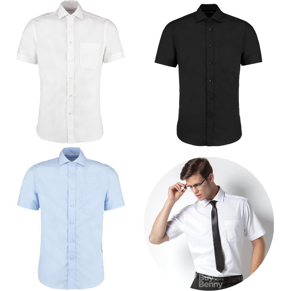 KK191 Kustom Kit Men/'s Slim Fit Camisa Manga Corta Negocio Oficina Ropa de trabajo