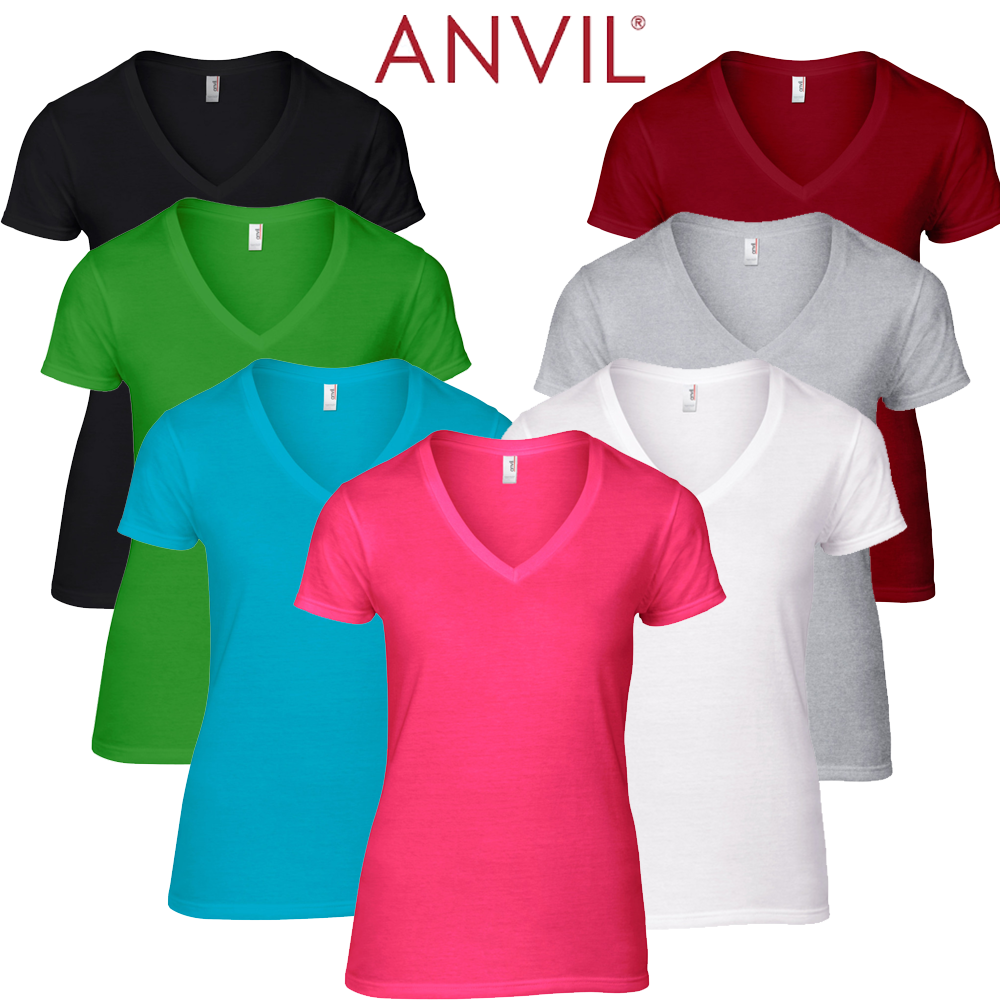 Anvil 88VL Women's Lightweight V Neck T Shirt