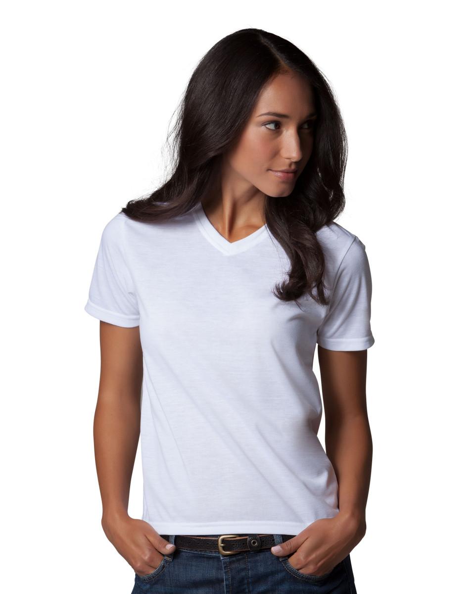 XPRES LADIES WHITE V-NECK T-SHIRT SUBLIMATION PLAIN TOP TEE WOMEN/'S S-3XL NEW