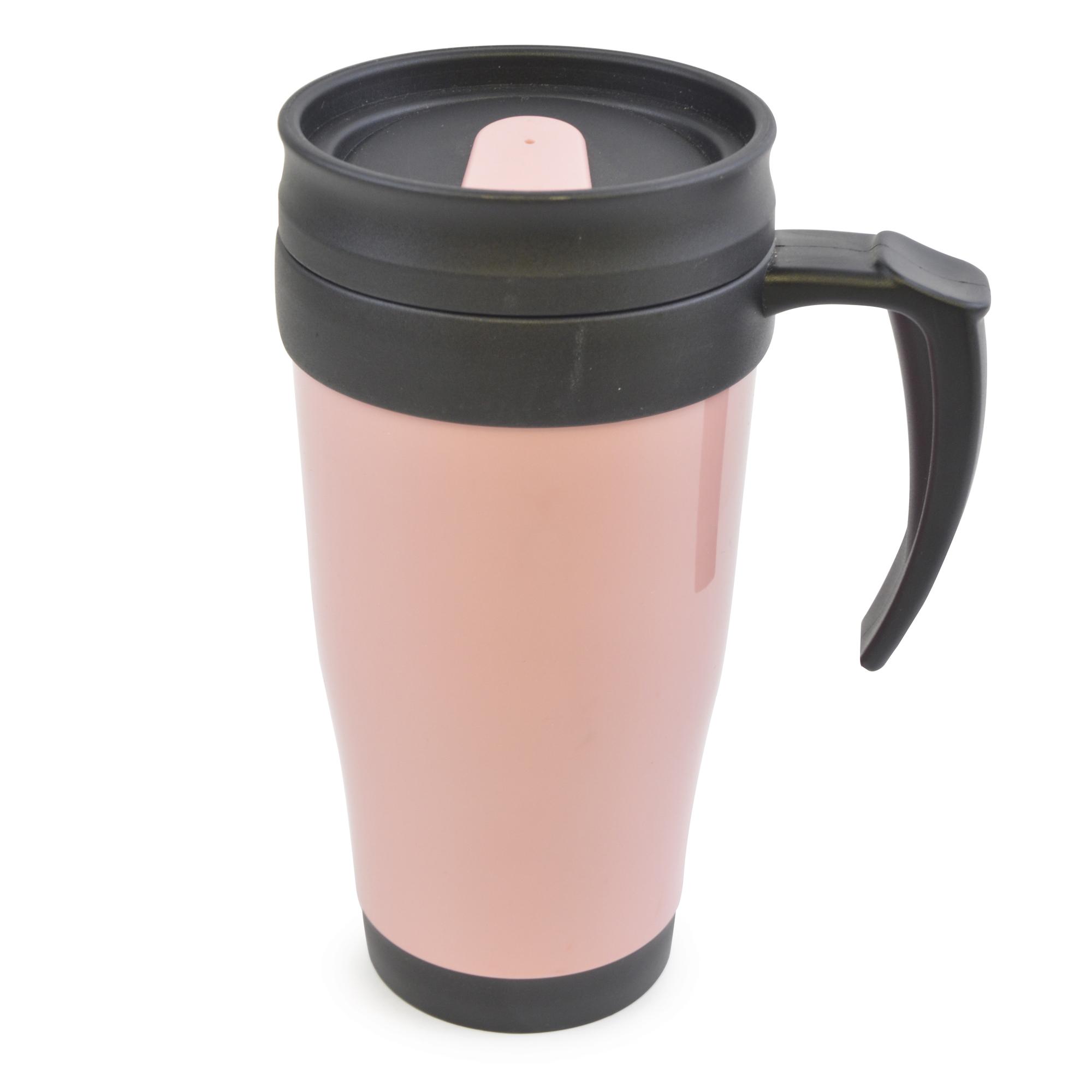 THERMAL TRAVEL MUG TEE COFFEE HOT DRINK CUP HANDLE DOUBLE ...