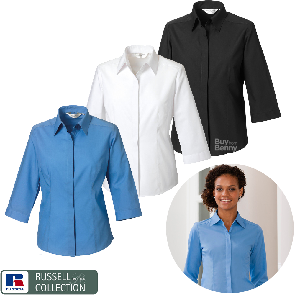 RUSSELL COLLECTION 3//4 SLEEVE POPLIN SHIRT EASY CARE COLLAR SMART LADIES XS-4XL
