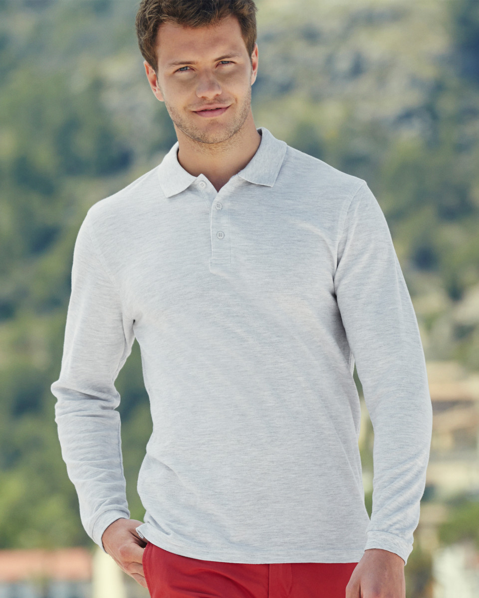 Fruit Of The Loom MEN/'S POLO SHIRT LONG SLEEVE PREMIUM COTTON TOP COLLAR S-3XL