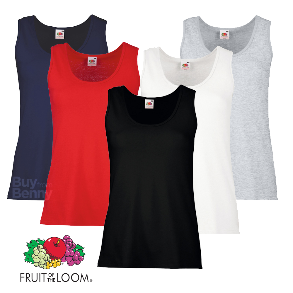 3f576ed18a0ab1 Sentinel Fruit Of The Loom LADIES VEST SUMMER TANK TOP COTTON PLAIN COMFORT  XS-2XL OFFER