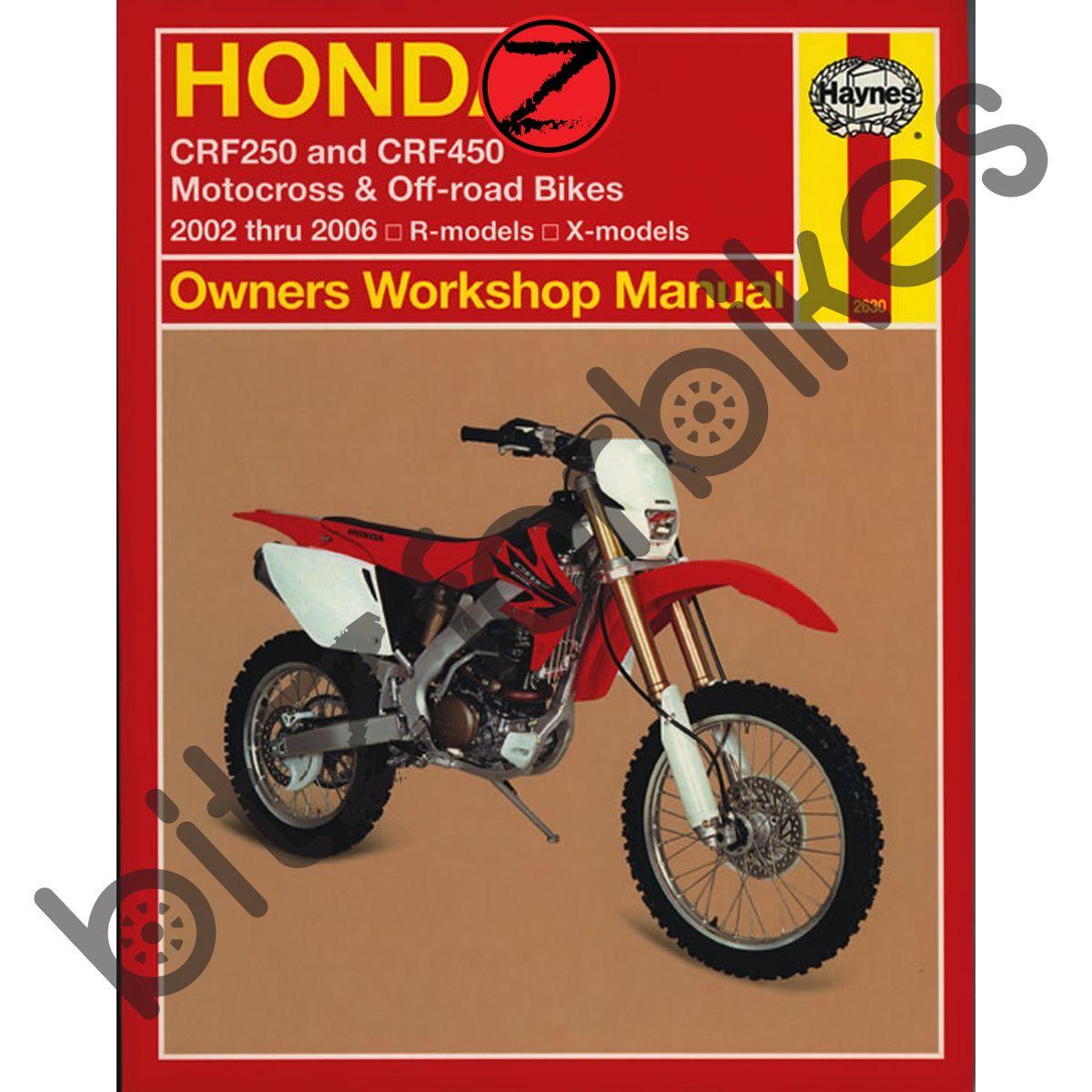 Sentinel Haynes Motorcycle Manual Honda CRF250R CRF250X 04-06 CRF450R  CRF450X 02