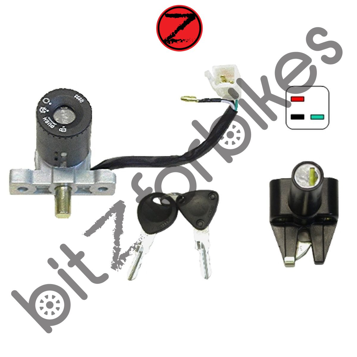 Sentinel Ignition Switch Lock Set (4 Wire) Honda FES 125-1 Pantheon (2001