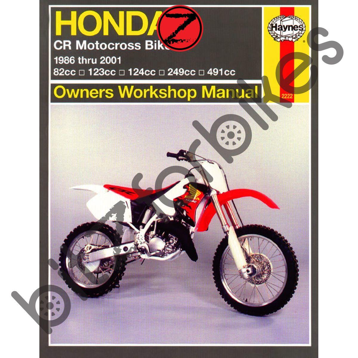 Sentinel Haynes Motorcycle Manual Honda CR80R CR125R CR250R CR500R 86-01