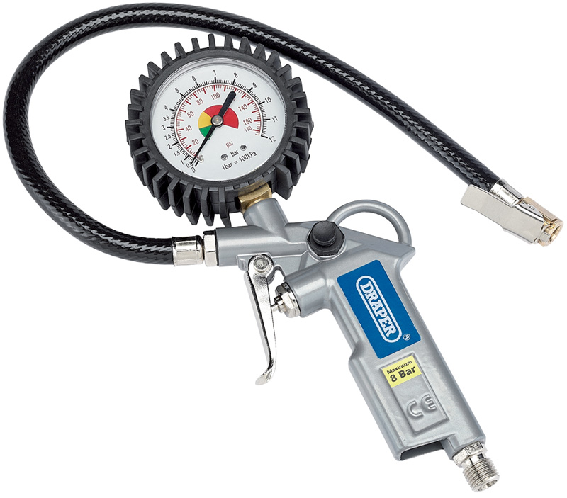 Draper Airline Car Tyre Inflator Kit With Air Pressure Gauge Draper Airline Car