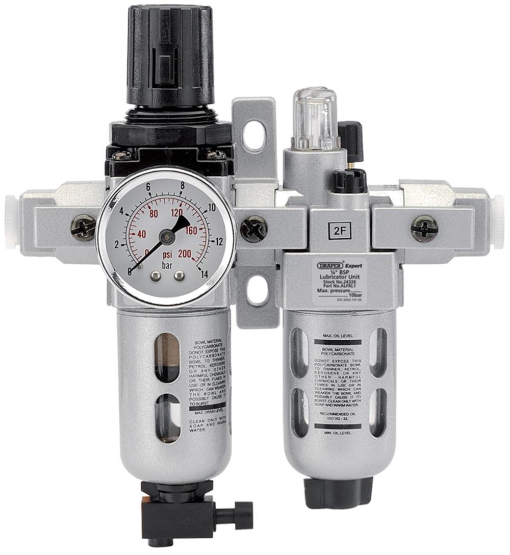 "Draper 24326 ALFRL1 1/4"" BSP Combined Filter/Regulator/Lubricator Unit (FRL)"