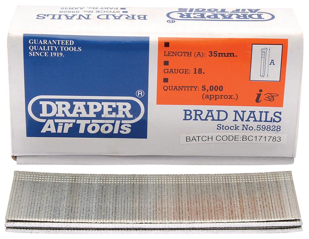 Draper 59828 AAN35 35mm Brad Nails (5000)
