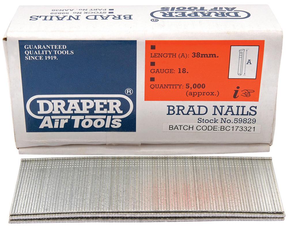Draper 59829 AAN38 38mm Brad Nails (5000)