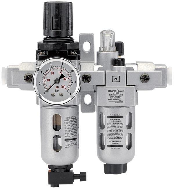 "Draper 24326 ALFRL1 1/4"" BSP Combined Filter/Regulator/Lubricator Unit (FRL) Thumbnail 1"