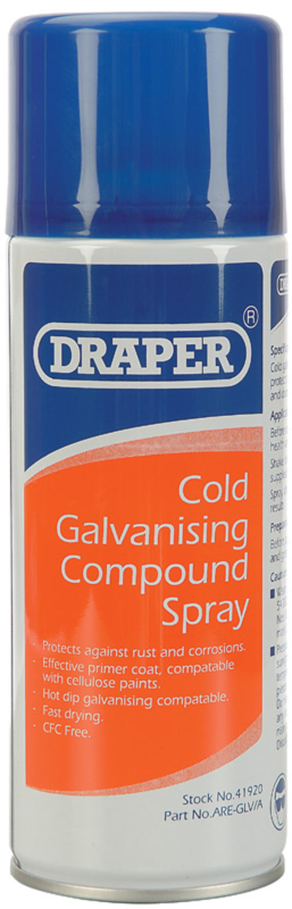 Draper 41920 ARE-GLV/A 400ml Cold Galvanizing Compound Spray Thumbnail 1