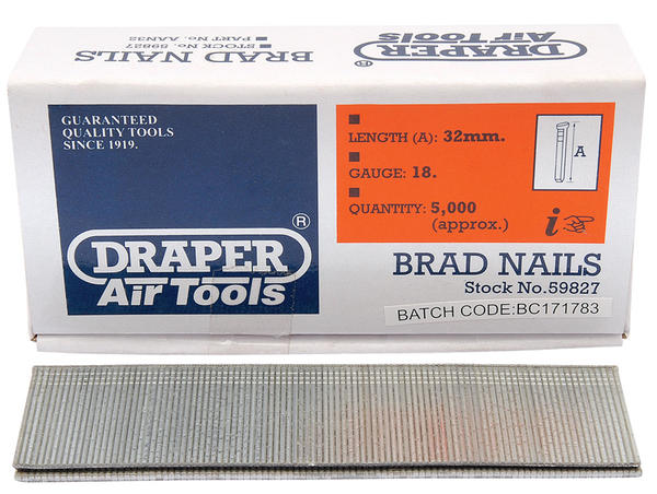 Draper 59827 AAN32 32mm Brad Nails (5000) Thumbnail 1