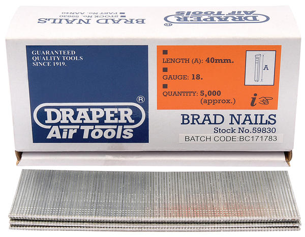 Draper 59830 AAN40 40mm Brad Nails (5000) Thumbnail 1