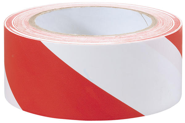 Draper 69010 TP-HAZ. 33M x 50mm Red and White Hazard Tape Roll Thumbnail 1