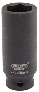 "Draper 6891 Expert 18mm 3/8"" Square Drive Hi-Torq 6 Point Deep Impact Socket"