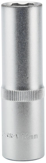 "Draper 09880 HT6-MM Expert 14mm 1/2"" Square Drive Hi-Torq Satin Chrome 6 Point Deep Socket"