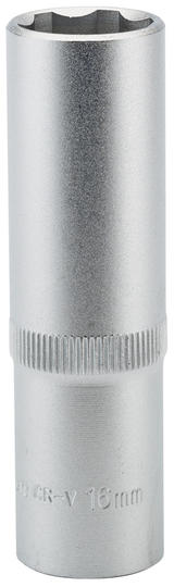 "Draper 09881 HT6-MM Expert 16mm 1/2"" Square Drive Hi-Torq Satin Chrome 6 Point Deep Socket"