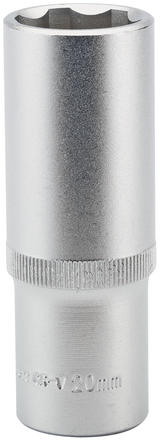 "Draper 09885 HT6-MM Expert 20mm 1/2"" Square Drive Hi-Torq Satin Chrome 6 Point Deep Socket"