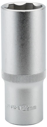 "Draper 09886 HT6-MM Expert 22mm 1/2"" Square Drive Hi-Torq Satin Chrome 6 Point Deep Socket"
