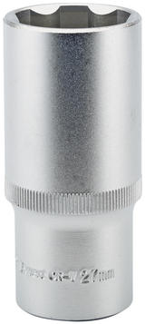 "Draper 09889 HT6-MM Expert 27mm 1/2"" Square Drive Hi-Torq Satin Chrome 6 Point Deep Socket"