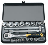 "Elora 25932 870 JMU 18 Piece 3/8"" Square Drive Metric Socket Set"
