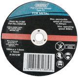 Draper 31385 CWMF2B 100 x 10 x 1.6mm Flat Metal Cutting Wheel