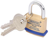 Draper 64160 8302/30 30mm Solid Brass Padlock and 2 Keys