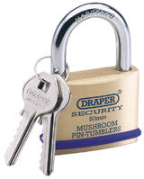 Draper 64162 8302/50 50mm Solid Brass Padlock and 2 Keys