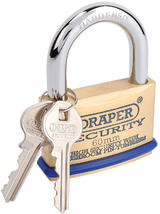 Draper 64163 8302/60 60mm Solid Brass Padlock and 2 Keys