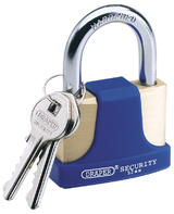 Draper 64166 8303/52 52mm Solid Brass Padlock and 2 Keys