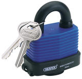 Draper 64178 8307/54 54mm Weatherproof Laminated Steel Padlock and 2 Keys with Hardened Steel Shackle and Bumper