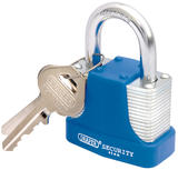 Draper 64181 8308/44 44mm Laminated Steel Padlock and 2 Keys with Hardened Steel Shackle and Bumper