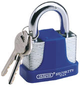 Draper 64183 8308/65 65mm Laminated Steel Padlock and 2 Keys