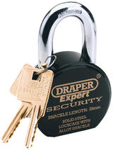 Draper 64206 8315/6325L Expert 63mm Heavy Duty Stainless Steel Padlock