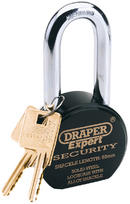 Draper 64207 8315/6350L Expert 63mm Heavy Duty Stainless Steel Padlock and 2 Keys