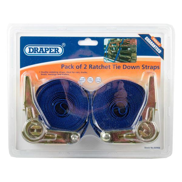 Draper 60966 RTDS250B2/B 4.5M 250Kg Ratchet Tie Down Strap (2 Pack) Thumbnail 3