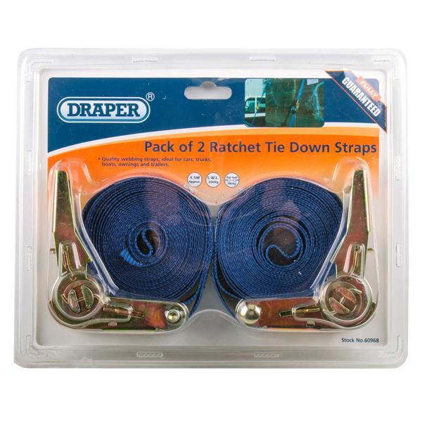Draper 60968 RTDS400B2/B 4.5M 350Kg Ratchet Tie Down Strap (2 Pack) Thumbnail 3