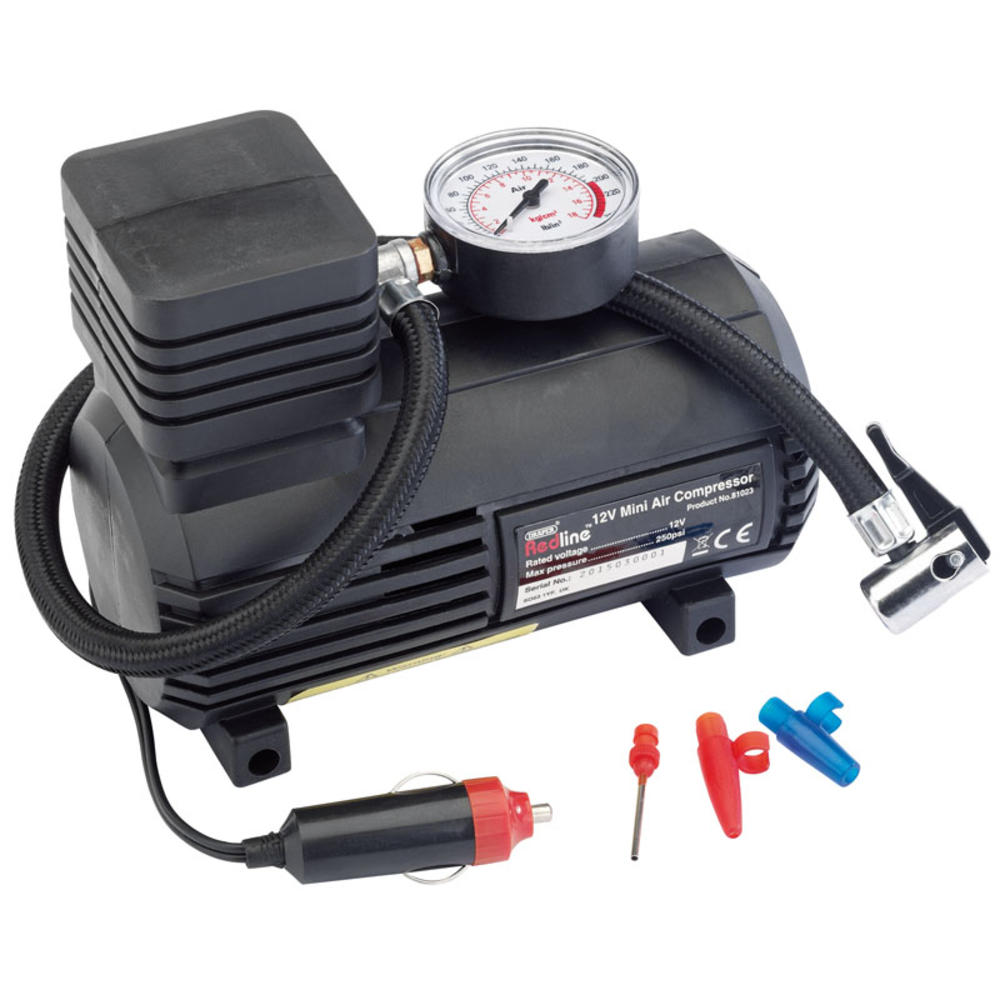Draper 81023 Redline 12V Mini Analogue Air Compressor 250Psi Max
