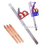 "Faithfull FAICS400 Combination Square 400mm (16"") & Carpenters Pencils"