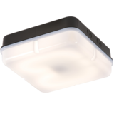 Knightsbridge IP65 28W Square Bulkhead C/W Opal Diff & Black Base HF Emergency
