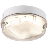 Knightsbridge IP65 28W Round Bulkhead C/W Pris Diff White Base Emergency HF