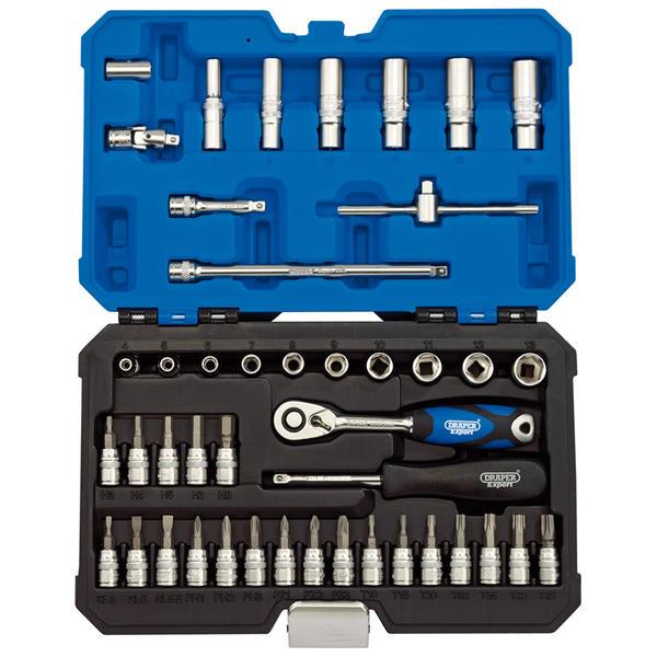 "Draper 16446 B44MN/SG Expert 1/4"" Sq. Dr. Metric Socket Set (44 Piece) Thumbnail 1"