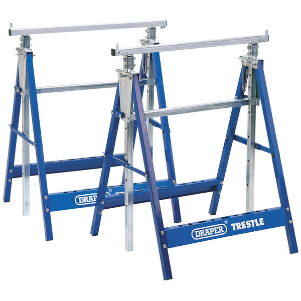 Draper 54053 BT/Y2 Pair of Telescopic Saw Horses or Builders Trestles Thumbnail 1
