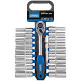 "Draper 16377 1/2"" Sq. Dr. Combined MM/AF Deep Socket and Ratchet Set (20 Piece)"
