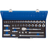 "Draper 16477 3/8"" Sq. Dr. Combined MM/AF Socket Set In Metal Case (40 Piece)"