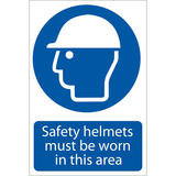Draper 72053 SS01 Safety Helmets Must Be Worn Self Adhesive Sign Notice