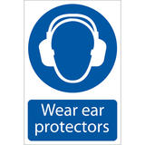 Draper 72063 SS02 Wear Ear Protectors Self Adhesive  Sign Notice