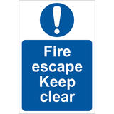 Draper 72146 SS09 Fire Escape Keep Clear  Sign Notice